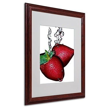Roderick Stevens 'Strawberry Splash II' Framed Matted Art - 16x20 Inches - Wood Frame