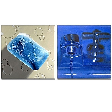 Trademark Fine Art Soap & Faucet 2pc Canvas Art Set by Roderick Stevens.
