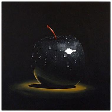 Trademark Fine Art Black Apple by Roderick Stevens-Canvas Art COA 14x14 Inches