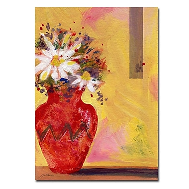 Trademark Fine Art Red Vase with Daisy by Sheila Golden Ready to Hang! 18x24 Inches