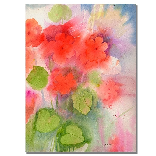 Trademark Fine Art Shelia Golden 'Red Geraniums' Canvas Art. 22x32 Inches