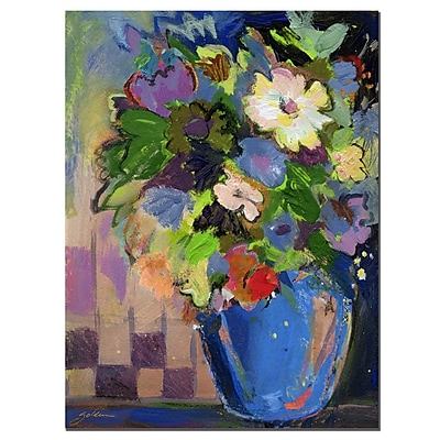 Trademark Fine Art Sheila Golden 'Cobalt Vase with Purple'-1'