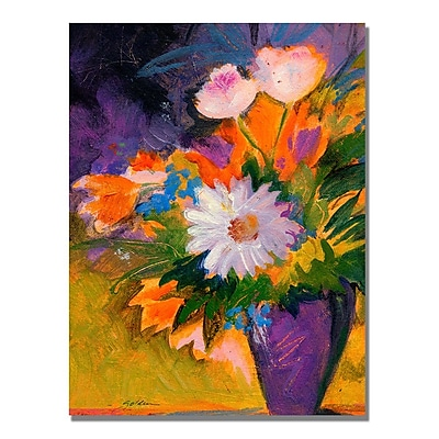 Trademark Fine Art Shelia Golden 'Purple Vase' Canvas Art 24x32 Inches