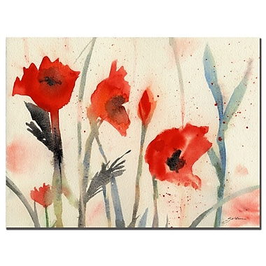 Trademark Fine Art Sheila Golden 'Red Poppy Light' Canvas Art 26x32 Inches