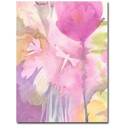 Trademark Fine Art Shelia Golden 'Dragonflies with Pink' Canvas Art 18x24 Inches