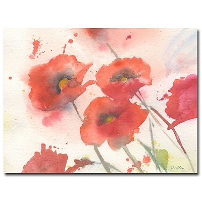 Trademark Fine Art Shelia Golden 'Swaying Red Poppies' Canvas Art 18x24 Inches
