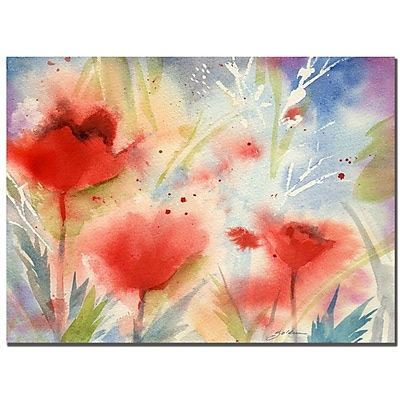 Trademark Fine Art Sheila Golden 'Red Poppy Splash' Canvas Art 35x47 Inches