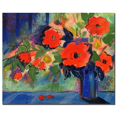 Trademark Fine Art Sheila Golden 'Cobalt Vase with Red Blooms' Canvas Art 18x24 Inches