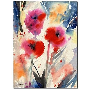 Trademark Fine Art Sheila Golden 'Three Bright Flowers' Canvas Art 26x32 Inches