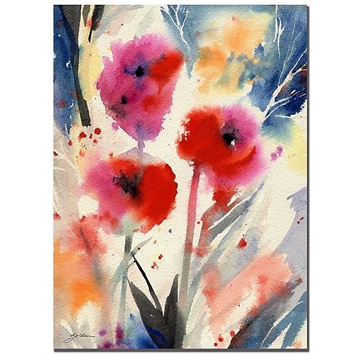 Trademark Fine Art Sheila Golden 'Three Bright Flowers' Canvas Art 26x32 Inches