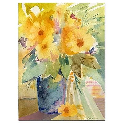 Trademark Fine Art Sheila Golden 'Yellow print' Canvas Art 14x19 Inches