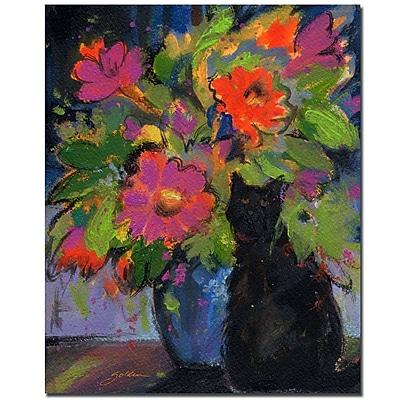 Trademark Fine Art Sheila Golden 'Cat and Pink Flowers' Canvas Art
