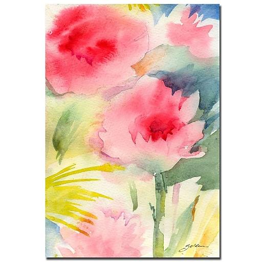 Trademark Fine Art Sheila Golden 'Pink Flowers-watercolor' Canvas Art