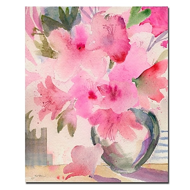 Trademark Fine Art Sheila Golden 'Pink Azaleas' Canvas Art 35x47 Inches