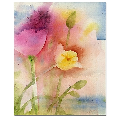 Trademark Fine Art Sheila Golden 'Pond Flowers' Canvas Art 26x32 Inches