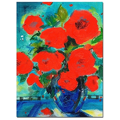Trademark Fine Art Sheila Golden 'Cobalt Vase with Red Blossoms' Canvas Ar 24x32 Inches