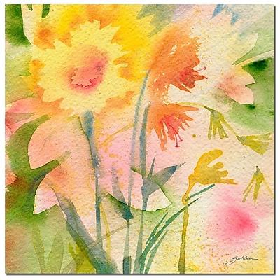 Trademark Fine Art Sheila Golden 'Garden Green Reflection' Canvas Art 35x35 Inches