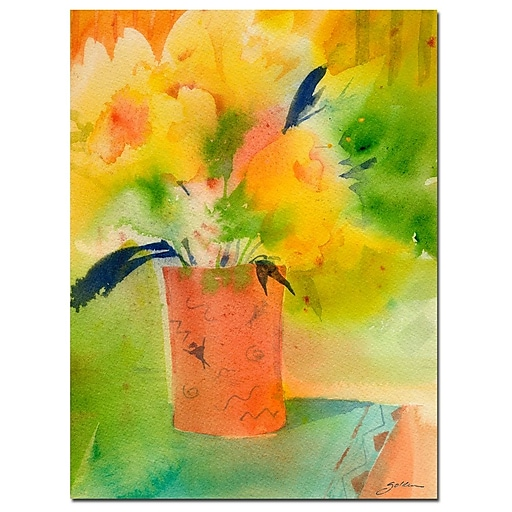 Trademark Fine Art Sheila Golden 'Southwest Vase with Yellow' Canvas Art