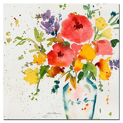 Trademark Fine Art Sheila Golden 'White Vase with Bright Flowers' Canvas A 35x35 Inches