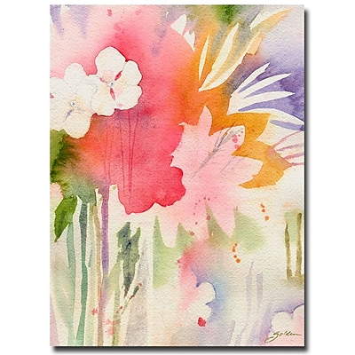 Trademark Fine Art Sheila Golden 'Pink Floral Shadows' Canvas Art 35x47 Inches