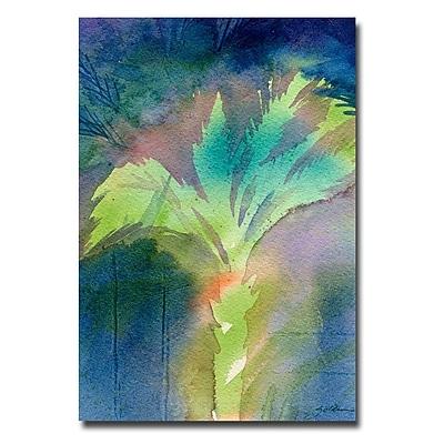 Trademark Fine Art Sheila Golden 'Night Palm' Canvas Art 16x24 Inches