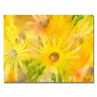 Trademark Fine Art Sheila Golden 'Yellow Wildflowers' Canvas Art 22x32 Inches