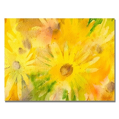 Trademark Fine Art Sheila Golden 'Yellow Wildflowers' Canvas Art 18x24 Inches