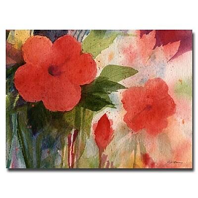 Trademark Fine Art Sheila Golden 'Red Blossoms' Canvas Art 35x47 Inches