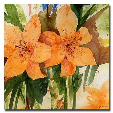 Trademark Fine Art Sheila Golden 'Tiger Lilies' Canvas Art 18x18 Inches