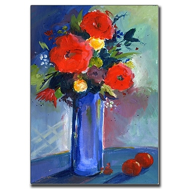 Trademark Fine Art Sheila Golden 'Red Flowers' Canvas Art 18x24 Inches