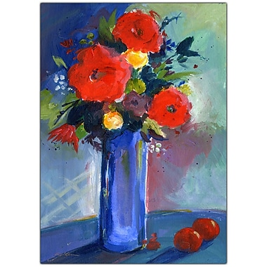Trademark Fine Art Sheila Golden 'Red Flowers' Canvas Art 24x32 Inches