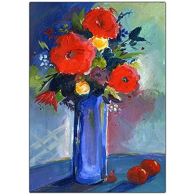 Trademark Fine Art Sheila Golden 'Red Flowers' Canvas Art 35x47 Inches