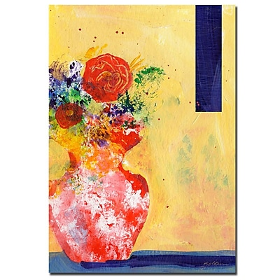 Trademark Fine Art Red Vase by Sheila Golden-Ready to Hang Canvas Art 18x24 Inches