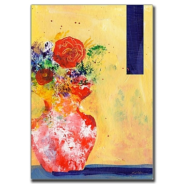 Trademark Fine Art Red Vase by Sheila Golden-Ready to Hang Canvas Art 24x32 Inches