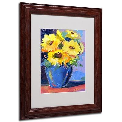 Sheila Golden 'Sunflowers II' Framed Matted Art - 11x14 Inches - Wood Frame