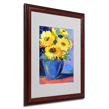 Sheila Golden 'Sunflowers II' Framed Matted Art - 16x20 Inches - Wood Frame