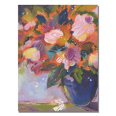 Trademark Fine Art Shelia Golden 'Cobalt and Purple Flowers' Canvas Art 18x24 Inches