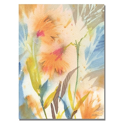 Trademark Fine Art Shelia Golden 'Tropical Orange Flowers' Canvas Art 18x24 Inches