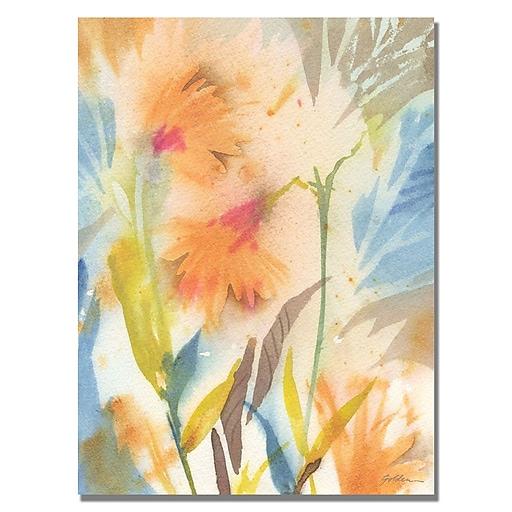 Trademark Fine Art Shelia Golden 'Tropical Orange Flowers' Canvas Art 35x47 Inches