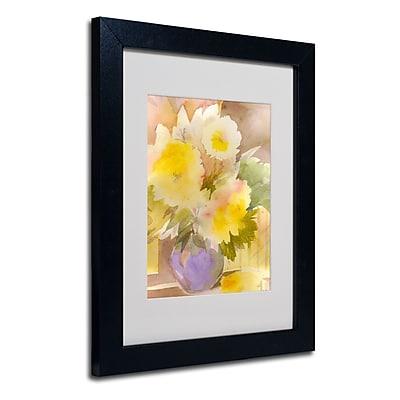 Trademark Fine Art Sheila Golden 'Purple Vase' Matted Art Black Frame 11x14 Inches