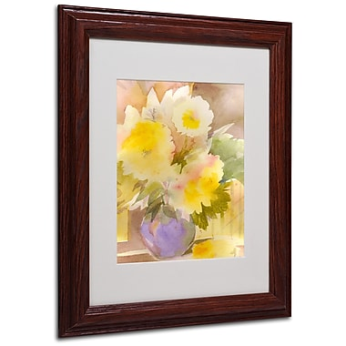 Sheila Golden 'Purple Vase' Framed Matted Art - 11x14 Inches - Wood Frame