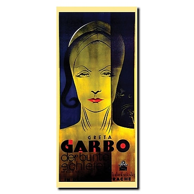 Trademark Fine Art Weninger-Greta Garbo Gallery Wrapped Canvas Art 12x24 Inches
