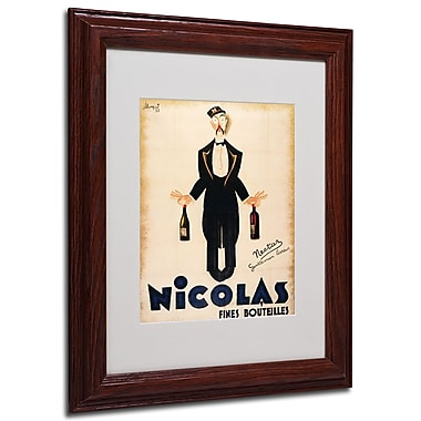 Nicolas Fines Bouteilles' Framed Matted Art - 11x14 Inches - Wood Frame