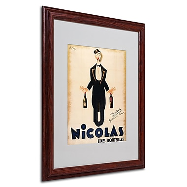 Nicolas Fines Bouteilles' Framed Matted Art - 16x20 Inches - Wood Frame