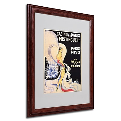 Louis Gaudin 'Casino de Paris Mistinguett' Framed Matted Art - 16x20 Inches - Wood Frame