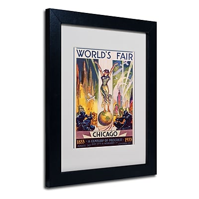 Trademark Fine Art Glen Sheffer 'World's Fair Chicago' Matted Art Black Frame 11x14 Inches