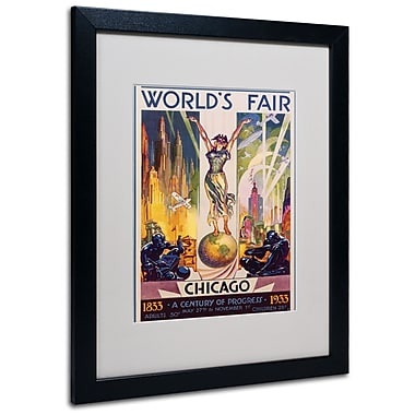 Trademark Fine Art Glen Sheffer 'World's Fair Chicago' Matted Art Black Frame 16x20 Inches