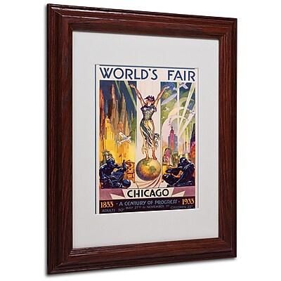 Glen Sheffer 'World's Fair Chicago' Matted Framed Art - 11x14 Inches - Wood Frame