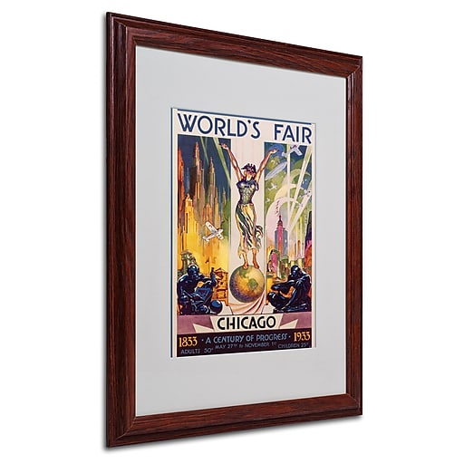 Glen Sheffer 'World's Fair Chicago' Matted Framed Art - 16x20 Inches - Wood Frame