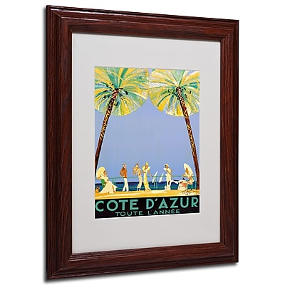 Jean Dumergue 'Cote D'Azur' Framed Matted Art - 11x14 Inches - Wood Frame